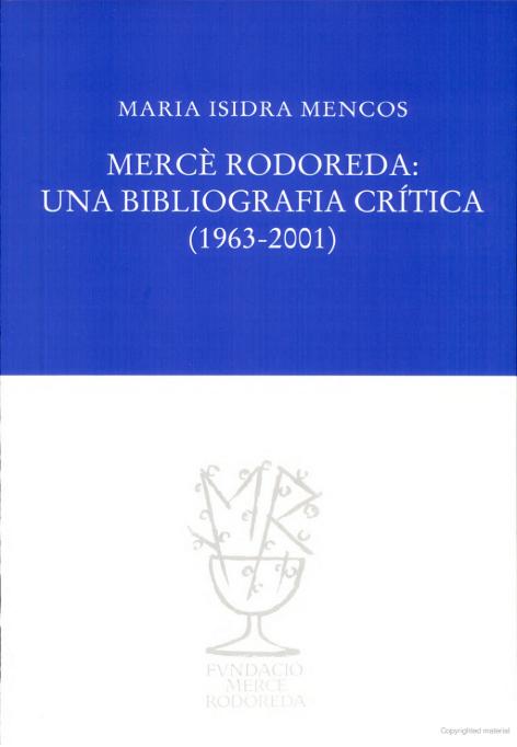 Mercè Rodoreda: Una bibliografia crítica.